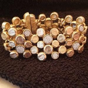 Gold bling rhinestone bracelet cuff